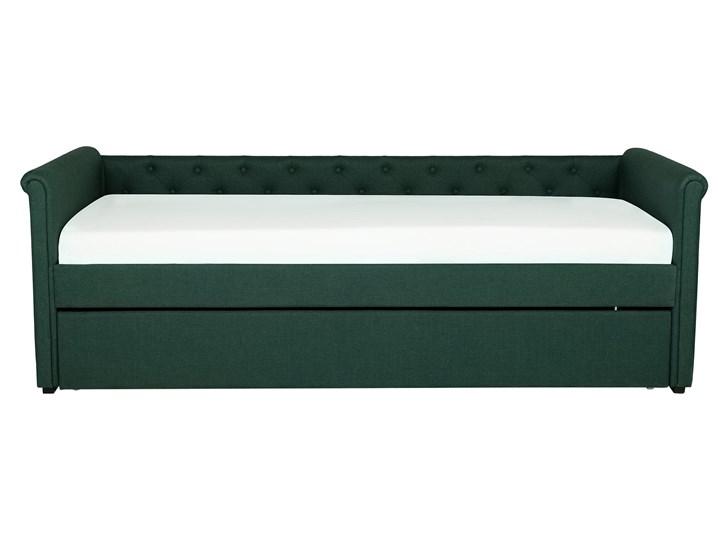 Łóżko dziecięce wysuwane ze stelażem ciemnozielone tapicerowane tkaniną pikowane oparcie 90 x 200 cm Tworzywo sztuczne Drewno Kolor Zielony Rozmiar materaca 90x200 cm
