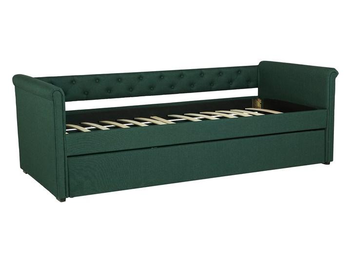 Łóżko dziecięce wysuwane ze stelażem ciemnozielone tapicerowane tkaniną pikowane oparcie 90 x 200 cm Drewno Tworzywo sztuczne Rozmiar materaca 90x200 cm Kolor Zielony