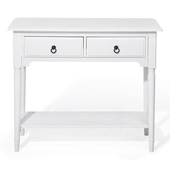 Konsola biała 91 x 38 cm 2 szuflady 1 półka retro