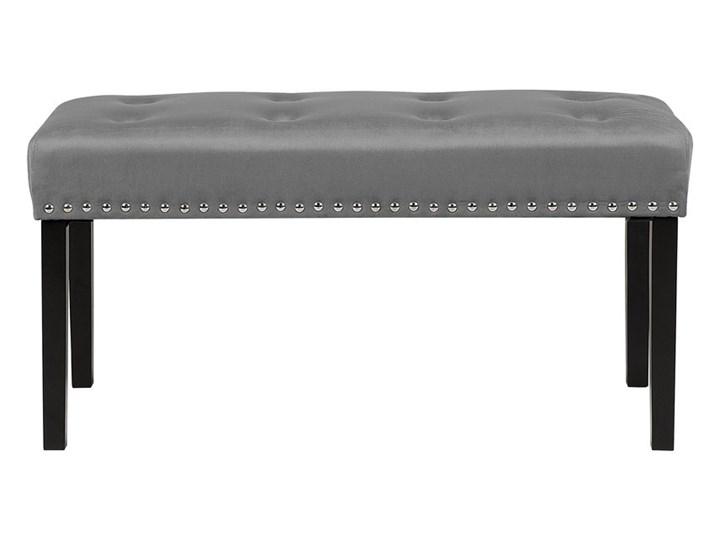 Ławka tapicerowana szara welurowa pikowana z ozdbonymi ćwiekami do sypialni Materiał obicia Tkanina Materiał nóżek Drewno