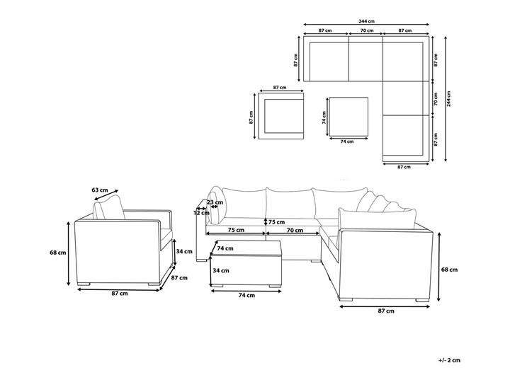 Zestaw mebli ogrodowych brązowy rattan szare poduchy modułowy narożnik fotel stolik kawowy Aluminium Zestawy modułowe Technorattan Zestawy wypoczynkowe Tworzywo sztuczne Zestawy kawowe Zawartość zestawu Fotele