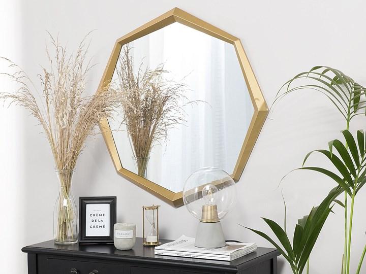 Lustro ścienne wiszące złote geometryczne ośmiokąt 71 cm Lustro z ramą Nieregularne Kolor Złoty
