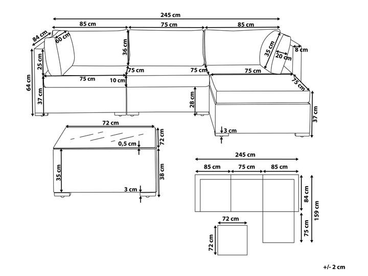 Zestaw mebli ogrodowych szary technorattan 4-osobowy narożnik szare poduchy stolik Zestawy kawowe Zestawy modułowe Zestawy wypoczynkowe Aluminium Tworzywo sztuczne Styl Nowoczesny