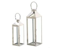 KOMPLET LATARNI METALOWYCH LAMPIONY CHROMOWANE 2SZT