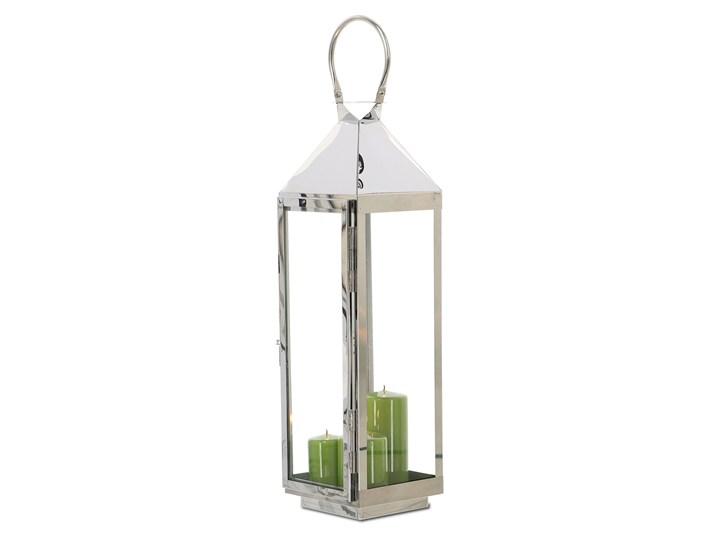 LATARNIA CHROMOWANA METALOWA SREBRNA 60cm Świeca Kolor Srebrny Lampion Kategoria Świeczniki i świece