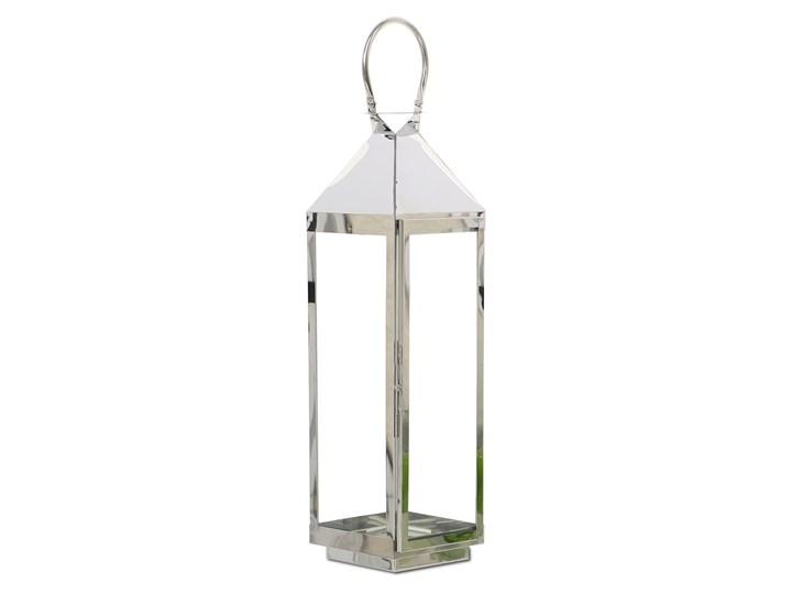 LATARNIA CHROMOWANA METALOWA SREBRNA 60cm Świeca Lampion Kolor Srebrny Kategoria Świeczniki i świece