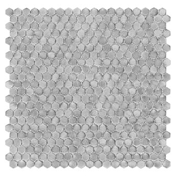 Metallic Allumi Silver Hexagon mozaika ścienna 30x30