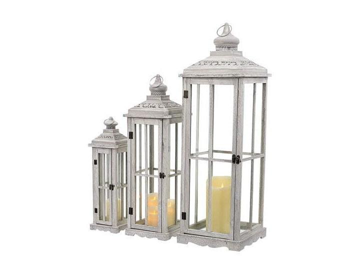 DREWNIANA LATARNIA LAMPION SHABBY COTTAGE 3SZT. Drewno Metal Kolor Beżowy