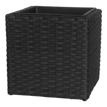 Donica z technorattanu NAC kwadratowa 38 x 38 x 38 cm czarna