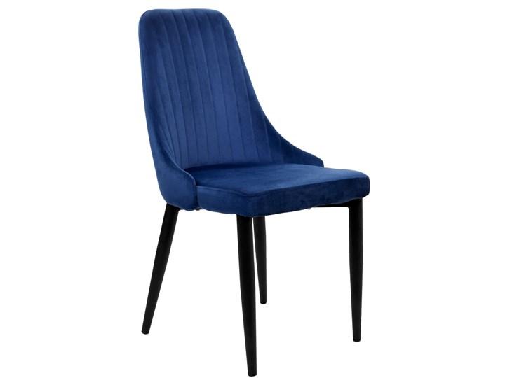 Krzesło welurowe LORIENT VELVET granatowe Tworzywo sztuczne Tkanina Metal Styl Nowoczesny Głębokość 45 cm Kolor Granatowy