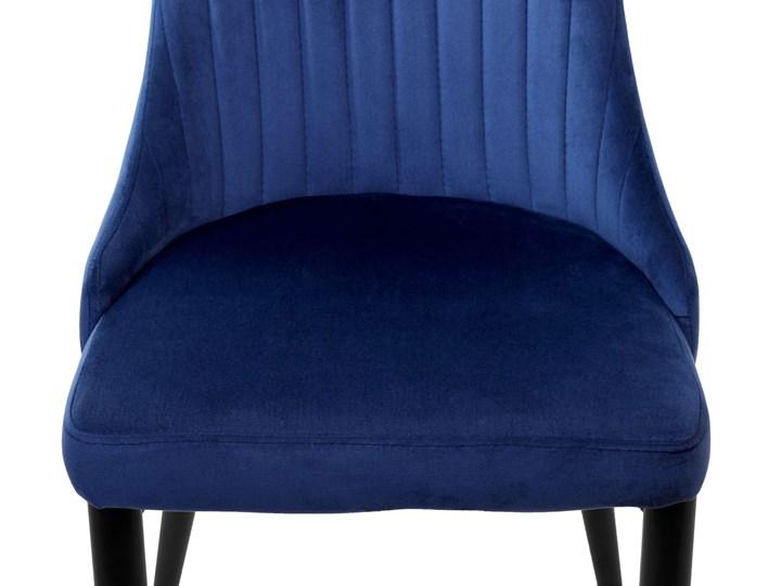 Krzesło welurowe LORIENT VELVET granatowe Tkanina Tworzywo sztuczne Metal Wysokość 89 cm Wysokość 41 cm Tapicerowane Styl Glamour Szerokość 32 cm Krzesło inspirowane Wysokość 46 cm Głębokość 45 cm Pomieszczenie Jadalnia