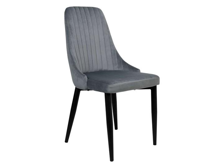 Krzesło welurowe LORIENT VELVET grafitowe Tkanina Głębokość 45 cm Tworzywo sztuczne Metal Kolor Szary
