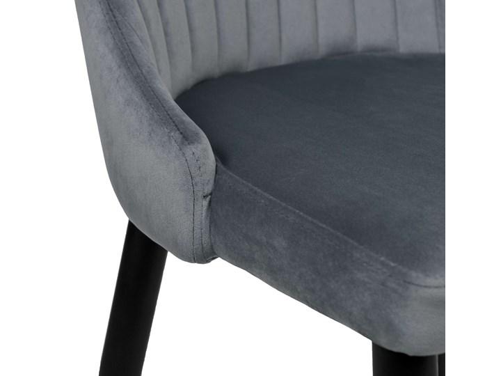 Krzesło welurowe LORIENT VELVET grafitowe Tkanina Wysokość 41 cm Wysokość 46 cm Wysokość 89 cm Krzesło inspirowane Tworzywo sztuczne Szerokość 32 cm Tapicerowane Głębokość 45 cm Styl Industrialny Metal Styl Nowoczesny
