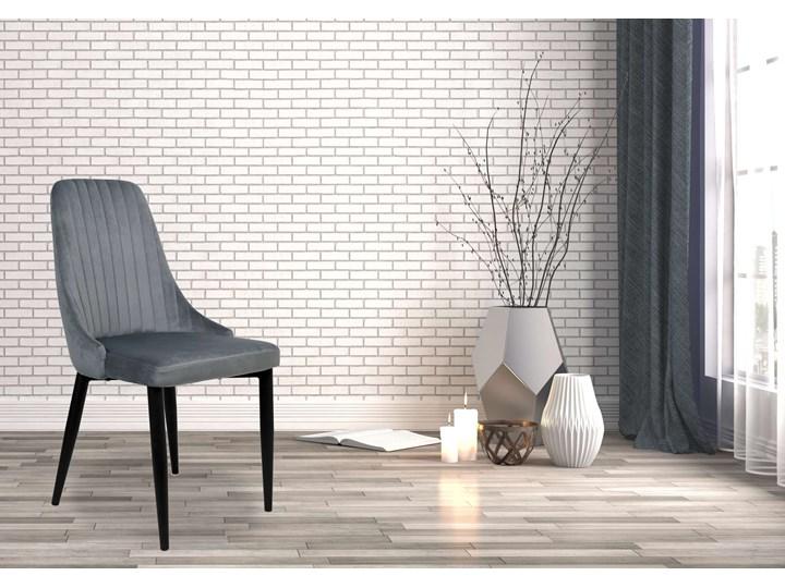 Krzesło welurowe LORIENT VELVET grafitowe Szerokość 32 cm Głębokość 45 cm Wysokość 41 cm Tapicerowane Tworzywo sztuczne Tkanina Wysokość 46 cm Wysokość 89 cm Krzesło inspirowane Metal Styl Nowoczesny