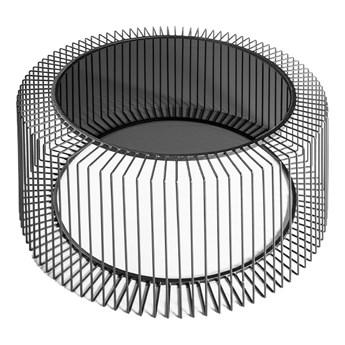 Druciany stolik kawowy grafitowy szklany blat  Ø80 x 38 cm TOYJ19-528