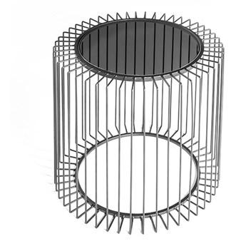Druciany stolik kawowy szklany grafitowy blat  Ø50 x 48 cm TOYJ19-529