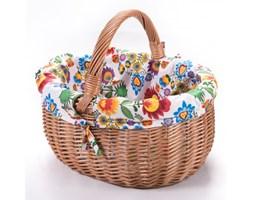 Wiklinowy koszyk zakupowy PT z wkładem obszyciem materiałowym trzy krańce