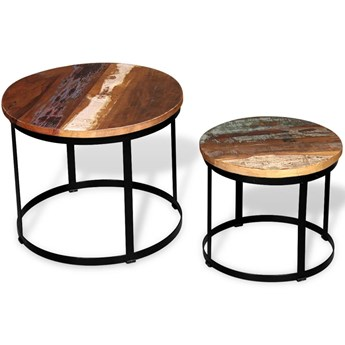 vidaXL Dwa stoliki do kawy z odzyskanego drewna, okrągłe, 40 i 50 cm