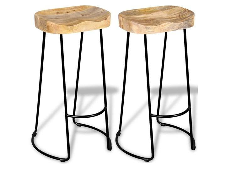 vidaXL Stołki barowe, 2 szt., lite drewno mango Metal Krzesło inspirowane Hoker tradycyjny Żelazo Tworzywo sztuczne Wysokość 44 cm Styl Vintage