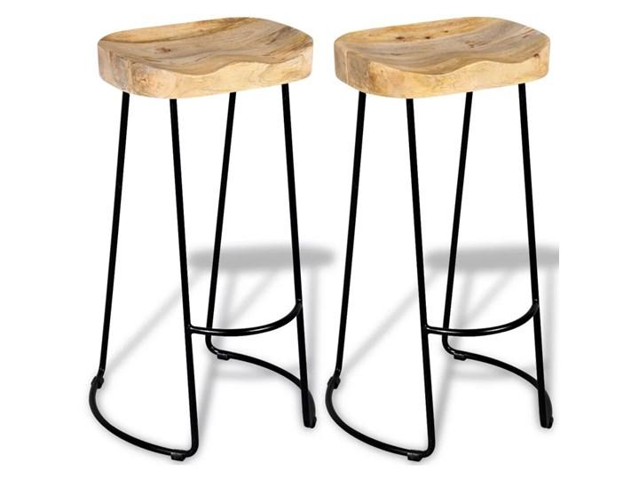 vidaXL Stołki barowe, 2 szt., lite drewno mango Tworzywo sztuczne Żelazo Krzesło inspirowane Hoker tradycyjny Wysokość 44 cm Metal Kategoria Krzesła kuchenne