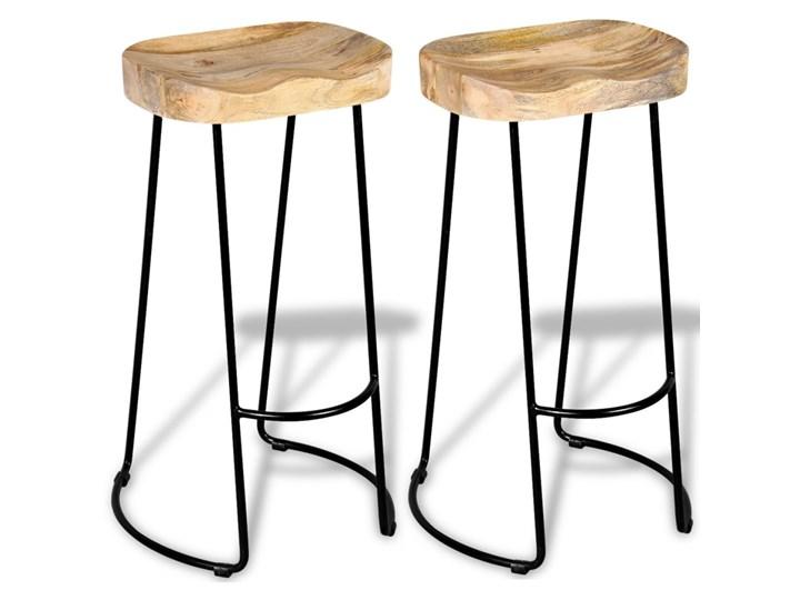vidaXL Stołki barowe, 2 szt., lite drewno mango Tworzywo sztuczne Krzesło inspirowane Hoker tradycyjny Wysokość 44 cm Metal Żelazo Kolor Beżowy