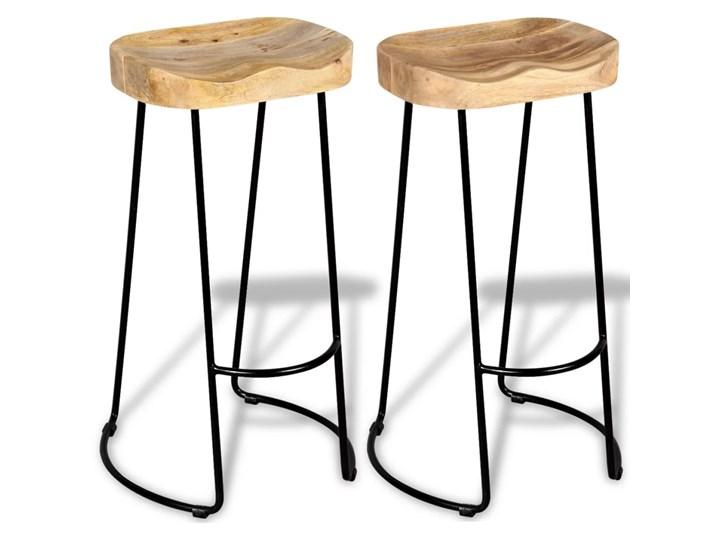 vidaXL Stołki barowe, 2 szt., lite drewno mango Tworzywo sztuczne Żelazo Krzesło inspirowane Metal Hoker tradycyjny Kategoria Krzesła kuchenne Wysokość 44 cm Styl Vintage
