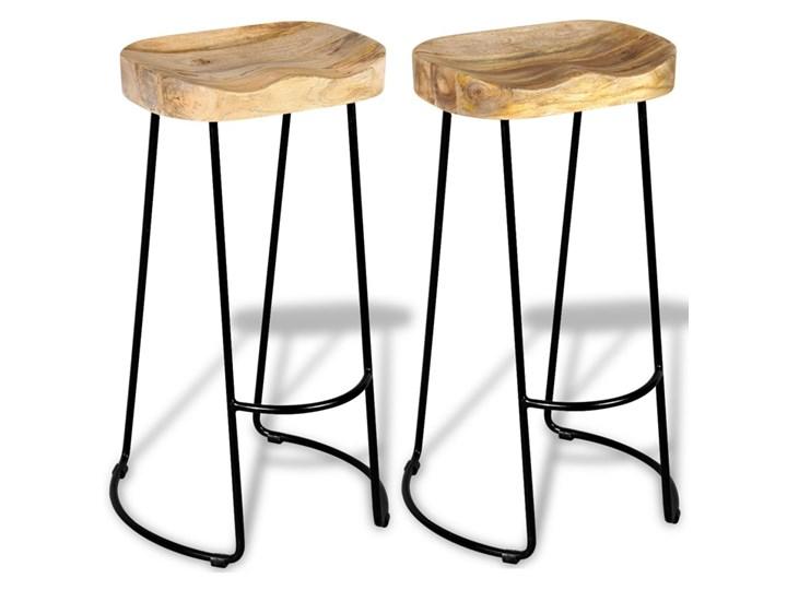 vidaXL Stołki barowe, 2 szt., lite drewno mango Wysokość 44 cm Hoker tradycyjny Metal Krzesło inspirowane Żelazo Tworzywo sztuczne Pomieszczenie Kuchnia