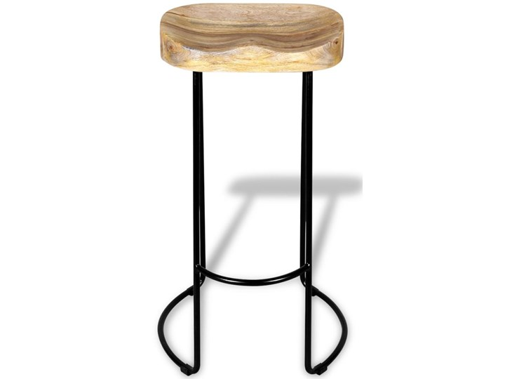 vidaXL Stołki barowe, 2 szt., lite drewno mango Metal Wysokość 44 cm Tworzywo sztuczne Hoker tradycyjny Żelazo Krzesło inspirowane Kategoria Krzesła kuchenne