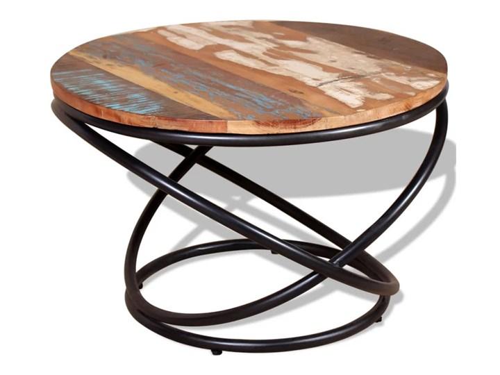 vidaXL Stolik kawowy, drewno odzyskane, 60x60x40 cm Styl Vintage Metal Rodzaj nóg Krzyżak