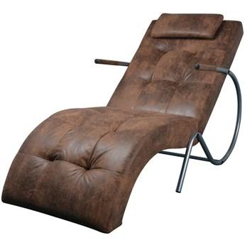 vidaXL Szezlong z poduszką, brązowy, tkanina zamszopodobna