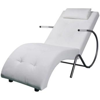 vidaXL Szezlong z poduszką, biały, sztuczna skóra