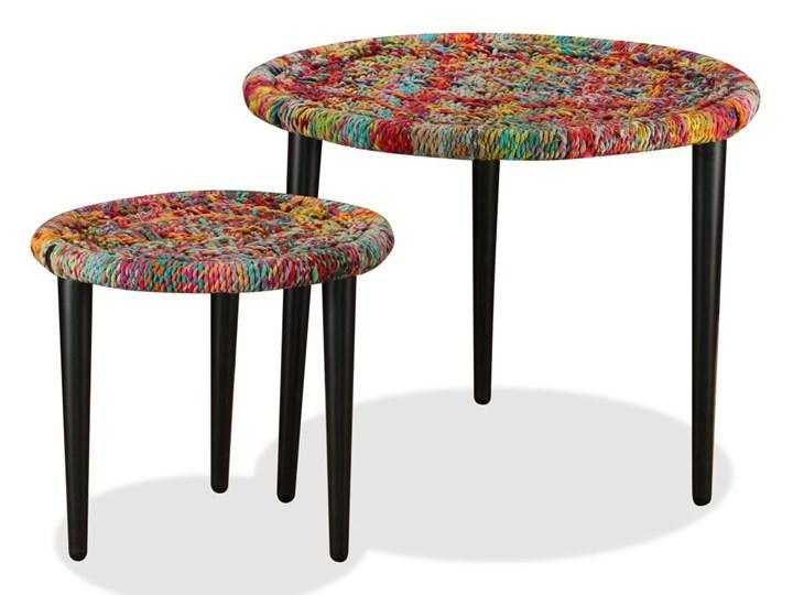 vidaXL Zestaw 2 stolików kawowych z detalami w stylu chindi, wielokolorowy Zestaw stolików Stal Styl Vintage