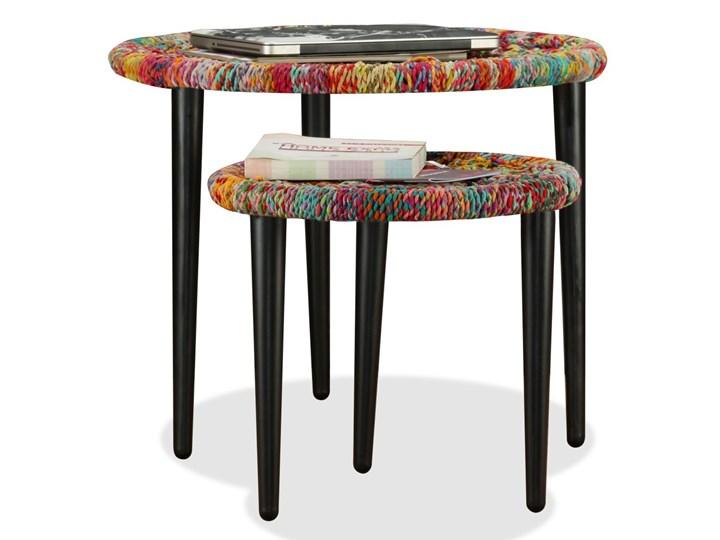 vidaXL Zestaw 2 stolików kawowych z detalami w stylu chindi, wielokolorowy Stal Zestaw stolików Styl Vintage