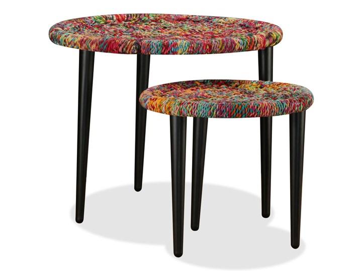 vidaXL Zestaw 2 stolików kawowych z detalami w stylu chindi, wielokolorowy Stal Zestaw stolików Rodzaj nóg Proste