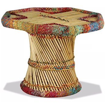 vidaXL Stolik kawowy z detalami w stylu chindi, bambus, wielokolorowy