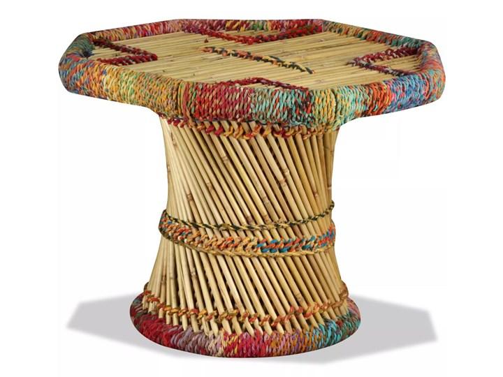 vidaXL Stolik kawowy z detalami w stylu chindi, bambus, wielokolorowy Kategoria Stoliki i ławy Wysokość 45 cm Stal Metal Kształt blatu Okrągłe