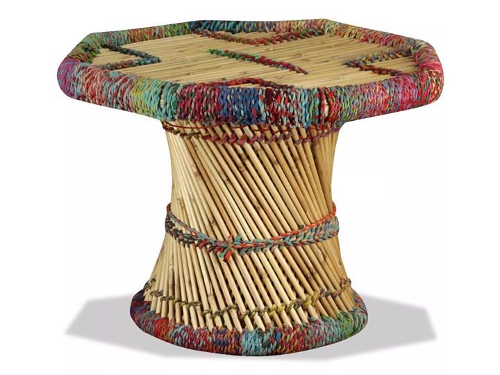 vidaXL Stolik kawowy z detalami w stylu chindi, bambus, wielokolorowy Stal Kształt blatu Okrągłe Wysokość 45 cm Metal Styl Awangardowy