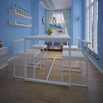 vidaXL 5-elementowy zestaw do jadalni: stół i krzesła, biały