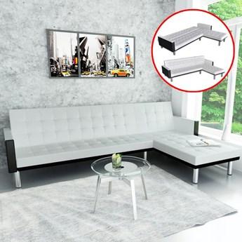 vidaXL Sofa narożna z funkcją rozkładania, sztuczna skóra, biała