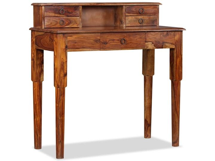 vidaXL Biurko z 5 szufladami, lite drewno sheesham, 90 x 40 x 90 cm Głębokość 40 cm Sekretarzyk Kolor Brązowy