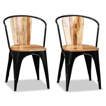 vidaXL Krzesła do jadalni, lite drewno akacjowe, 2 szt.