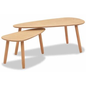 vidaXL Zestaw stolików kawowych, 2 szt., brązowy, lite drewno sosnowe