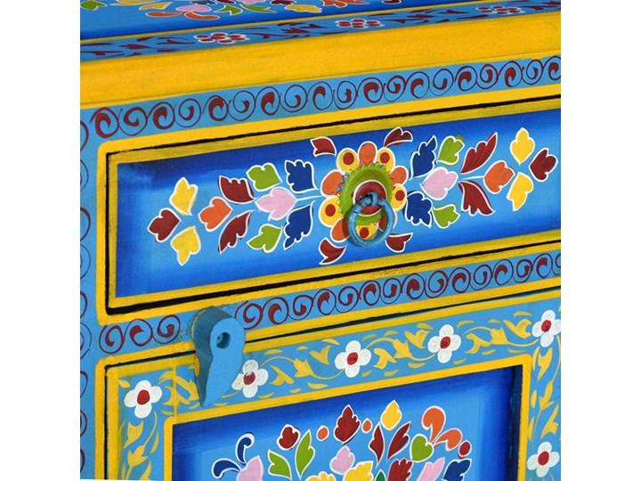 vidaXL Szafka nocna, lite drewno mango, turkusowa, ręcznie malowana Styl Vintage