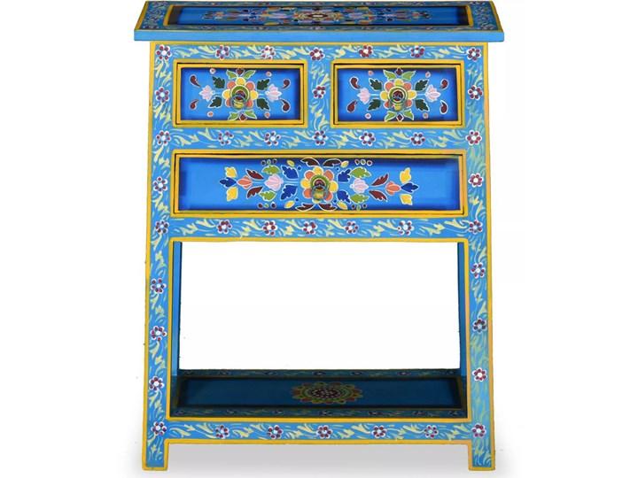 vidaXL Szafka z szufladami, drewno mango, turkusowa, ręcznie malowana Kolor Turkusowy Pomieszczenie Salon