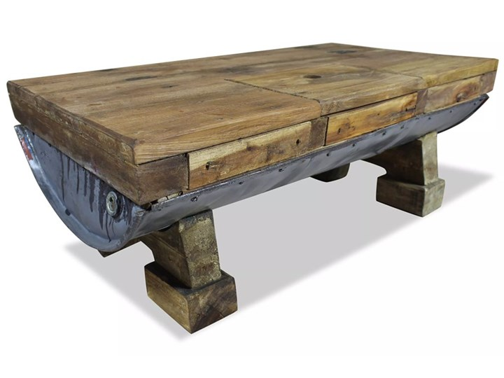 vidaXL Stolik kawowy z litego drewna z odzysku, 90x50x35 cm Metal Drewno Styl Industrialny Styl Rustykalny