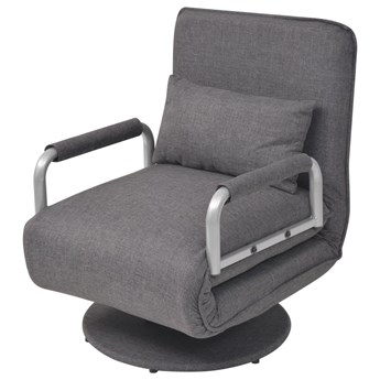 vidaXL Obrotowy fotel rozkładany, ciemnoszary, tkanina