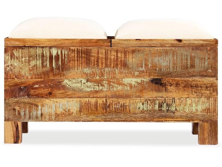 vidaXL Skrzynia z siedziskiem, lite drewno odzyskane, 80 x 40 x 40 cm Materiał obicia Tkanina