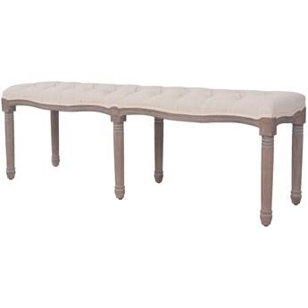 vidaXL Ławka do przedpokoju, len i lite drewno, 150x40x48 cm, kremowa