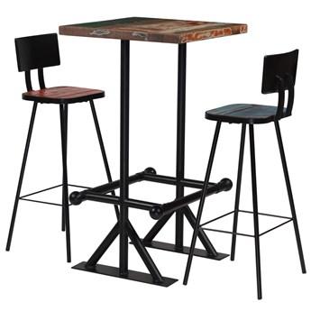 vidaXL 3-częściowy zestaw mebli barowych, drewno z odzysku, kolorowy