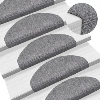vidaXL Samoprzylepne nakładki na schody, 15 szt., 65x21x4 cm, szare